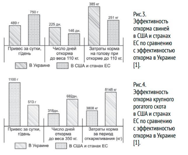 эффективность откорма в США и ЕС по сравнению с Украиной