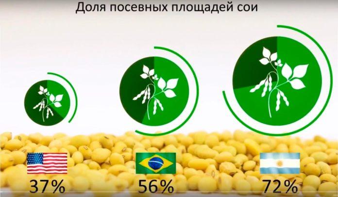 доля сои в выращивании агрокультур